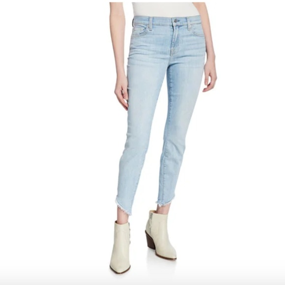 7 For All Mankind Denim - 7 For All Mankind Gwenevere Raw Angled-Ankle Jeans